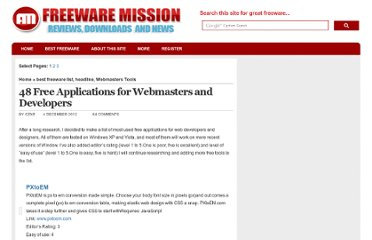 http://www.freewaremission.com/2009/12/50-free-applications-for-webmasters-and-developers/