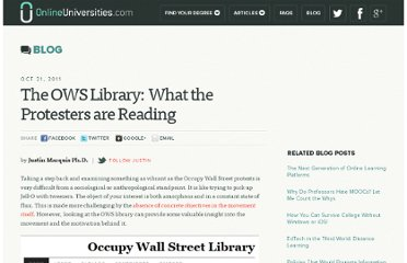http://www.onlineuniversities.com/blog/2011/10/the-ows-library-what-the-protesters-are-reading/