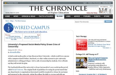 http://chronicle.com/blogs/wiredcampus/universitys-social-media-policy-draws-cries-of-censorship/33898