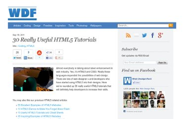http://www.webdesignfact.com/2011/09/30-really-useful-html5-tutorials.html