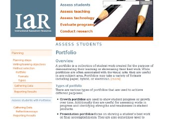 http://www.utexas.edu/academic/ctl/assessment/iar/students/plan/method/portfolios.php