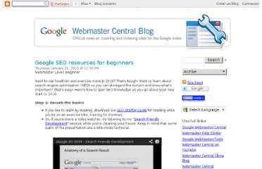 http://googlewebmastercentral.blogspot.com/2010/01/google-seo-resources-for-beginners.html