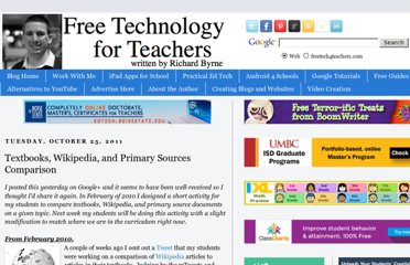 http://www.freetech4teachers.com/2011/10/textbooks-wikipedia-and-primary-sources.html