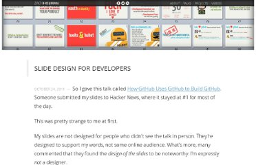 http://zachholman.com/posts/slide-design-for-developers/