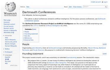 http://en.wikipedia.org/wiki/Dartmouth_Conferences