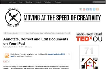 http://www.speedofcreativity.org/2011/10/25/annotate-correct-and-edit-documents-on-your-ipad/