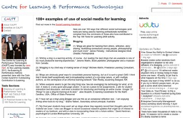 http://c4lpt.co.uk/social-learning-handbook/100-examples-of-use-of-social-media-for-learning/