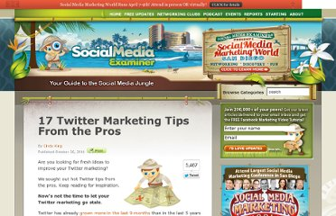 http://www.socialmediaexaminer.com/17-twitter-marketing-tips-from-the-pros/