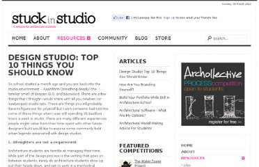 http://stuckinstudio.com/resources/62-design-studio-top-10-things-you-should-know.html