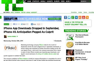 http://techcrunch.com/2011/10/26/iphone-app-downloads-dropped-in-september-iphone-4s-anticipation-pegged-as-culprit/