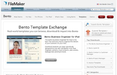 http://solutions.filemaker.com/database-templates/index_home.jsp