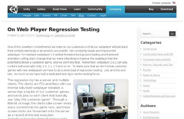 http://blogs.unity3d.com/2010/01/12/on-web-player-regression-testing/