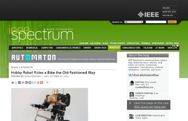 http://spectrum.ieee.org/automaton/robotics/humanoids/hobby-robot-rides-a-bike-the-oldfashioned-way