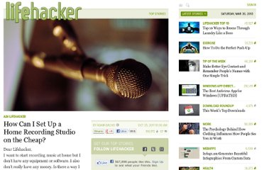 http://lifehacker.com/5853193/how-can-i-set-up-a-home-recording-studio-on-the-cheap