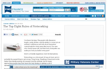 http://www.fins.com/Finance/Articles/SBB0001424052970204644504576651181338419022/The-Top-Eight-Rules-of-Networking
