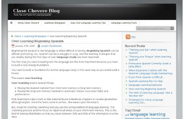 http://blog.clasechevere.com/18/over-learning-beginning-spanish/