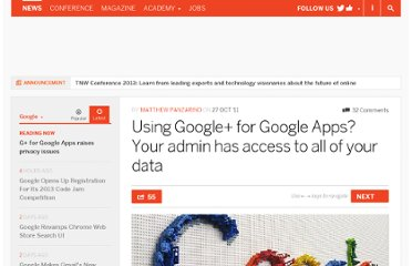 http://thenextweb.com/google/2011/10/27/using-google-for-google-apps-your-admin-has-access-to-all-of-your-data/