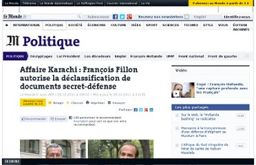 http://www.lemonde.fr/politique/article/2011/10/28/affaire-karachi-francois-fillon-autorise-la-declassification-de-documents-secret-defense_1595823_823448.html