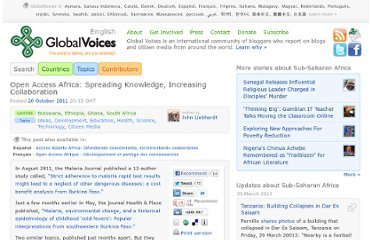 http://globalvoicesonline.org/2011/10/28/open-access-africa-spreading-knowledge-increasing-collaboration/