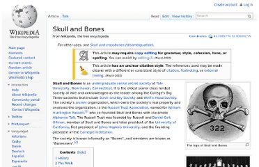 http://en.wikipedia.org/wiki/Skull_and_Bones