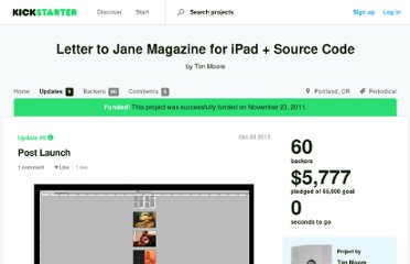 http://www.kickstarter.com/projects/lettertojane/letter-to-jane-magazine-for-ipad/posts