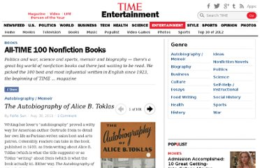 http://entertainment.time.com/2011/08/30/all-time-100-best-nonfiction-books/#the-autobiography-of-alice-b-toklas-by-gertrude-stein
