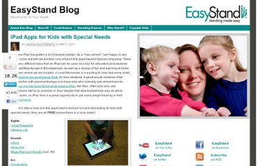 http://blog.easystand.com/2010/05/ipad-apps-for-kids-with-special-needs/