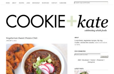 http://cookieandkate.com/2011/sweet-potato-chili-recipe/