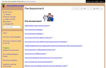 http://daretodifferentiate.wikispaces.com/Pre-Assessment