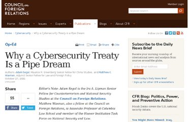 http://www.cfr.org/cybersecurity/why-cybersecurity-treaty-pipe-dream/p26325