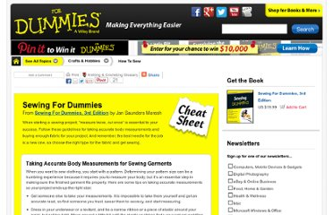 http://www.dummies.com/how-to/content/sewing-for-dummies-cheat-sheet.html