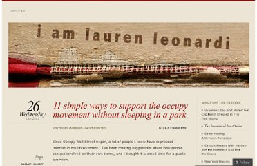 http://iamlaurenleonardi.wordpress.com/2011/10/26/eleve-simple-ways-to-support-the-occupy-movement-without-sleeping-in-a-park/