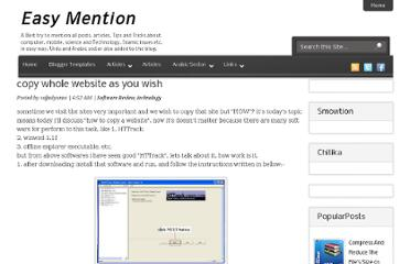 http://easymention.blogspot.com/2011/06/copy-whole-website-as-you-wish.html