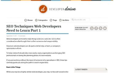 http://www.developerdrive.com/2011/09/seo-techniques-web-developers-need-to-learn-part-1/