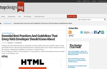 http://www.topdesignmag.com/best-practice-and-guidelines-that-every-web-developer-should-know-about/