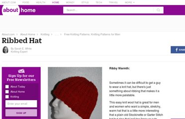 http://knitting.about.com/od/patternsformen/p/ribbed-hat.htm