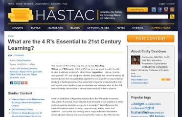 http://hastac.org/blogs/cathy-davidson/2011/10/31/what-are-4-rs-essential-21st-century-learning