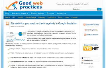 http://www.goodwebpractices.com/roi/the-most-important-google-analytics-statistics.html