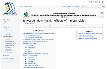 http://en.wikibooks.org/wiki/Nanotechnology/Health_effects_of_nanoparticles