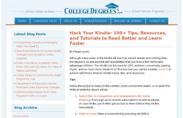 http://www.collegedegrees.com/blog/2008/06/17/hack-your-kindle-100-tips-resources-and-tutorials-to-get-more-out-of-the-amazon-kindle/