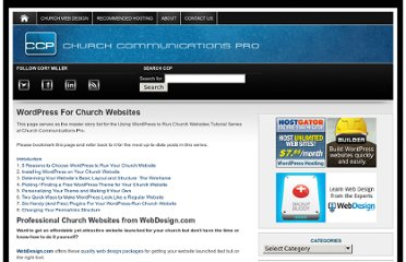 http://churchcommunicationspro.com/using-wordpress-to-run-church-websites-tutorial-series/