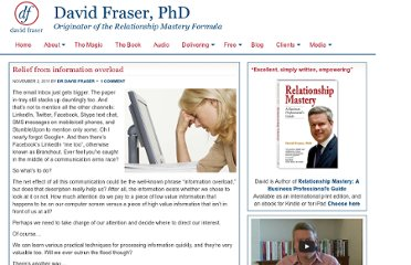 http://www.drdavidfraser.com/2011/11/02/relief-from-information-overload/