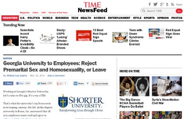 http://newsfeed.time.com/2011/11/02/georgia-university-to-employees-reject-premarital-sex-and-homosexuality-or-leave/