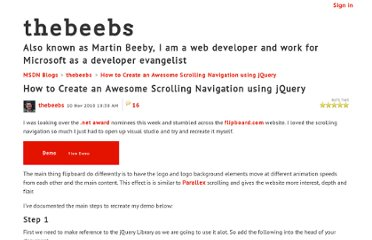 http://blogs.msdn.com/b/thebeebs/archive/2010/11/10/how-to-create-an-awesome-scrolling-navigation-using-jquery.aspx