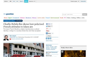 http://www.guardian.co.uk/commentisfree/belief/2011/nov/02/charlie-hebdo-fire-islam-france