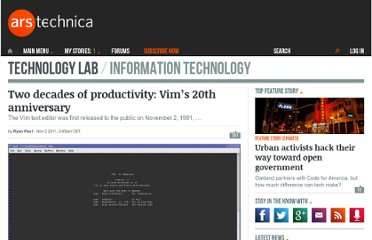 http://arstechnica.com/open-source/news/2011/11/two-decades-of-productivity-vims-20th-anniversary.ars