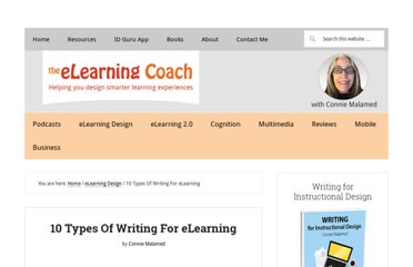 http://theelearningcoach.com/elearning_design/10-types-of-writing-for-elearning/