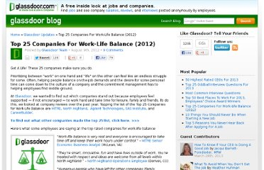 http://www.glassdoor.com/blog/top-25-companies-worklife-balance/