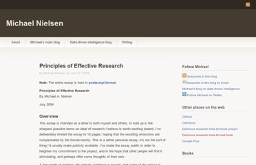 http://michaelnielsen.org/blog/principles-of-effective-research/