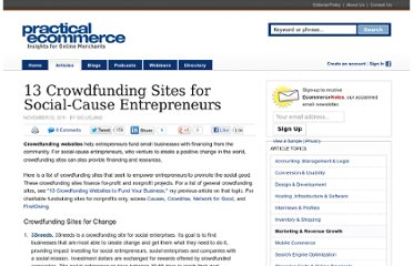 http://www.practicalecommerce.com/articles/3140-13-Crowdfunding-Sites-for-Social-Cause-Entrepreneurs